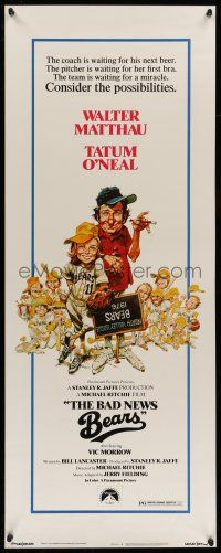 7k025 BAD NEWS BEARS insert '76 Matthau coaches baseball player Tatum O'Neal, Jack Davis art!