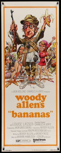 7k026 BANANAS insert '71 great artwork of Woody Allen by E.C. Comics artist Jack Davis!