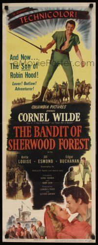 7k028 BANDIT OF SHERWOOD FOREST insert '45 great full-length image of Cornel Wilde wearing tights!