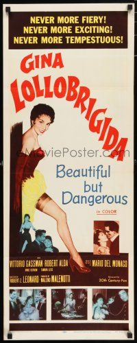 7k029 BEAUTIFUL BUT DANGEROUS insert '57 wonderful full-length art of sexy Gina Lollobrigida!