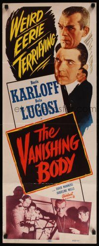 7k034 BLACK CAT insert R53 Boris Karloff, Bela Lugosi, The Vanishing Body, weird & terrifying!