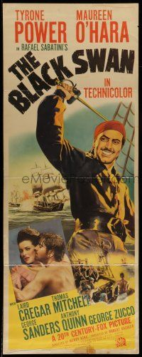 7k035 BLACK SWAN insert '42 cool images of swashbuckler Tyrone Power & Maureen O'Hara!
