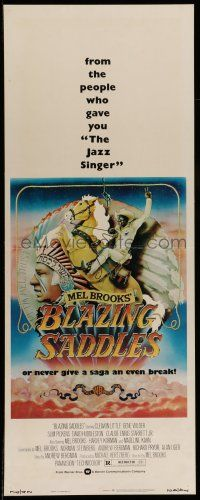7k037 BLAZING SADDLES insert '74 classic Mel Brooks western, Gene Wilder & Cleavon Little!