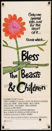 7k038 BLESS THE BEASTS & CHILDREN insert '71 Stanley Kramer, only one animal kills for sport!