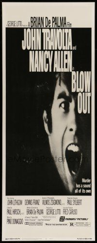 7k039 BLOW OUT insert '81 John Travolta, Brian De Palma, murder has a sound all of its own!
