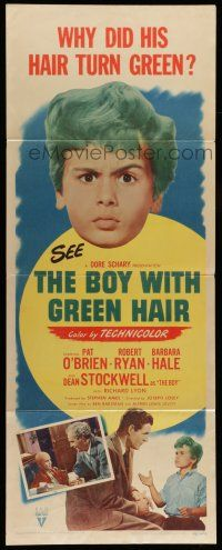 7k044 BOY WITH GREEN HAIR insert '48 huge headshot of Dean Stockwell, a kid who wants to end war!