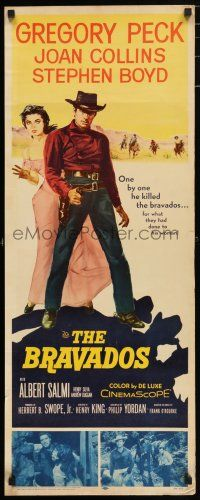 7k045 BRAVADOS insert '58 full-length art of cowboy Gregory Peck with gun & sexy Joan Collins!
