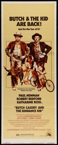 7k048 BUTCH CASSIDY & THE SUNDANCE KID insert R73 Paul Newman, Robert Redford,back for the fun of it
