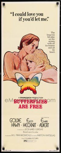7k049 BUTTERFLIES ARE FREE insert '72 art of would-be lovers Goldie Hawn & blind Edward Albert!