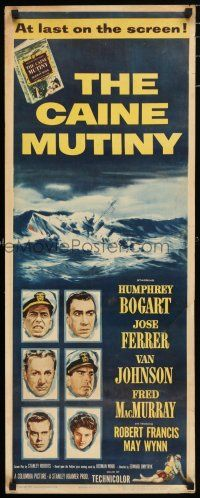 7k050 CAINE MUTINY insert '54 art of Humphrey Bogart, Jose Ferrer, Van Johnson & Fred MacMurray!