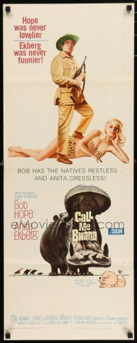 7k051 CALL ME BWANA insert '63 wacky image of Bob Hope & Anita Ekberg, Bwana have fun?
