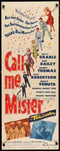 7k052 CALL ME MISTER insert '51 Betty Grable, Dan Dailey & cast, you name it, it's got it!