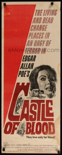 7k053 CASTLE OF BLOOD insert '64 Edgar Allan Poe, the living and dead in an orgy of terror!