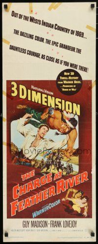 7k058 CHARGE AT FEATHER RIVER 3D insert '53 great 3-D art of Guy Madison throwing Native American!
