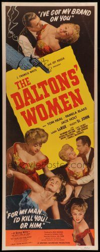 7k065 DALTONS' WOMEN insert '50 Tom Neal, bad girl Pamela Blake would kill for her man!