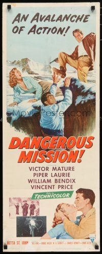 7k067 DANGEROUS MISSION insert '54 Victor Mature, Piper Laurie, an avalanche of action!