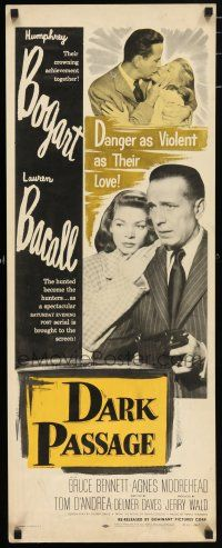 7k069 DARK PASSAGE insert R56 great close up of Humphrey Bogart with gun & sexy Lauren Bacall!