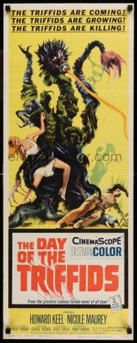 7k071 DAY OF THE TRIFFIDS insert '62 classic English sci-fi horror, cool art of monster with girl!