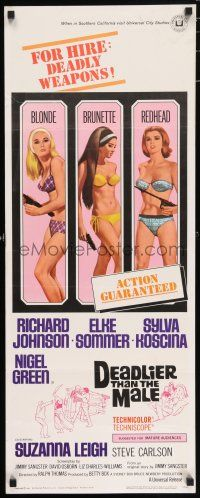 7k072 DEADLIER THAN THE MALE insert '67 sexy Elke Sommer, Sylva Koscina & Suzanna Leigh!