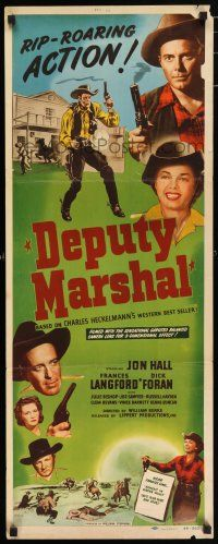 7k075 DEPUTY MARSHAL insert '49 cowboys Jon Hall & Dick Forward + pretty Frances Langford!