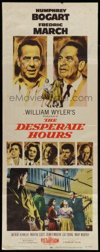 7k078 DESPERATE HOURS white style insert '55 Humphrey Bogart, Fredric March, William Wyler!