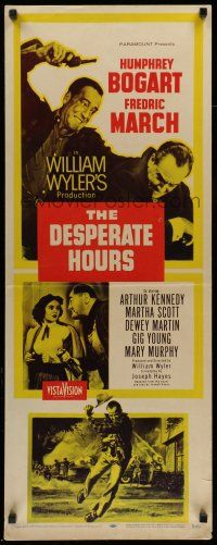 7k077 DESPERATE HOURS yellow style insert '55 Humphrey Bogart, Fredric March, William Wyler!
