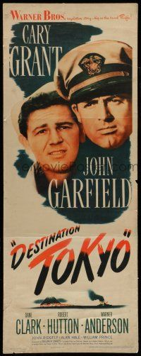 7k079 DESTINATION TOKYO insert '43 Cary Grant & John Garfield in World War II, Delmer Daves!