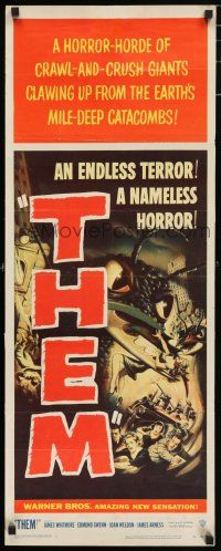 7k001 THEM insert '54 classic sci-fi, art of horror horde of giant bugs terrorizing people!