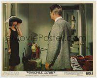 7m011 BREAKFAST AT TIFFANY'S color 8x10 still '61 Audrey Hepburn wearing hat stares at Peppard!