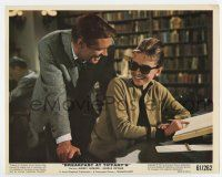 7m015 BREAKFAST AT TIFFANY'S color 8x10 still '61 Peppard laughs with Audrey Hepburn in library!
