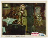7m027 BUS STOP color 8x10 still '56 bewildered Marilyn Monroe with overcoat and suitcase!