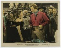 7m030 CALIFORNIA color 8x10 still '46 Barbara Stanwyck & Milland by huge stacks of gambling chips!