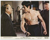 7m033 CHINESE CONNECTION 8x10 mini LC #8 '73 Jing Wu Men, barechested Bruce Lee glares at guy!