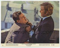 7m043 GET CARTER color 8x10 still '71 Michael Caine gets rough with guy on balcony!