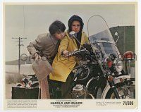 7m048 HAROLD & MAUDE color 8x10 still '71 Ruth Gordon & Bud Cort on motorcycle, Hal Ashby classic!