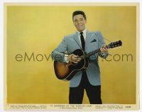 7m051 IT HAPPENED AT THE WORLD'S FAIR color 8x10 still #11 '63 c/u of Elvis Presley playing guitar!