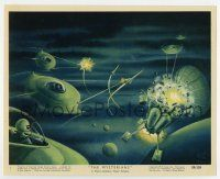 7m066 MYSTERIANS color 8x10 still #1 '59 art of alien ships destroying satellite by Lt. Col. Rigg!
