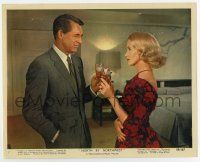 7m070 NORTH BY NORTHWEST color 8x10 still #2 '59 Cary Grant & Eva Marie Saint toasting, Hitchcock!