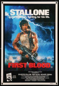 7p022 FIRST BLOOD Aust 1sh '82 artwork of Sylvester Stallone as John Rambo by Drew Struzan!