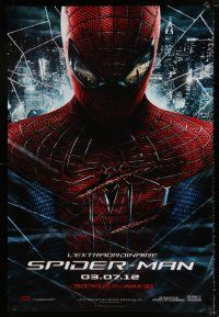 7p026 AMAZING SPIDER-MAN teaser DS Canadian 1sh '12 Andrew Garfield over city!