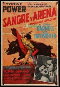 7p036 BLOOD & SAND Colombian poster '41 great artwork of matador, Tyrone Power & Rita Hayworth!