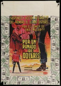 7p039 FISTFUL OF DOLLARS Colombian poster '67 introducing the man with no name, Clint Eastwood!