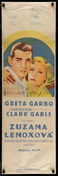 7p010 SUSAN LENOX: HER FALL & RISE Czech 12x38 '31 cool different art of Garbo and Gable!