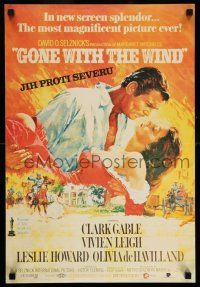 7p011 GONE WITH THE WIND Czech 16x24 R92 art of Clark Gable & Vivien Leigh, all-time classic!