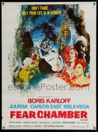 7p005 FEAR CHAMBER export Mexican poster '73 cool close-up artwork of Boris Karloff, horror!