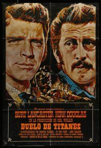 7p076 GUNFIGHT AT THE O.K. CORRAL Spanish R70s art of Lancaster & Kirk Douglas by Mac Gomez!