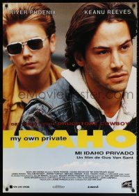 7p079 MY OWN PRIVATE IDAHO Spanish '91 close up of River Phoenix with Keanu Reeves!
