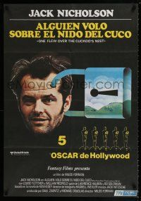 7p081 ONE FLEW OVER THE CUCKOO'S NEST Spanish '76 c/u of Jack Nicholson, Milos Forman classic!