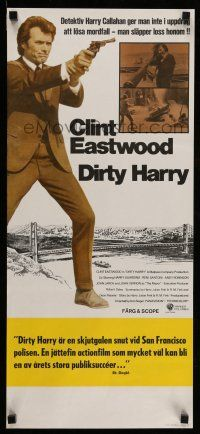 7p052 DIRTY HARRY Swedish stolpe '72 Clint Eastwood pointing gun, Don Siegel crime classic!