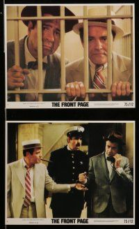 7s076 FRONT PAGE 8 8x10 mini LCs '75 Jack Lemmon & Walter Matthau, directed by Billy Wilder!